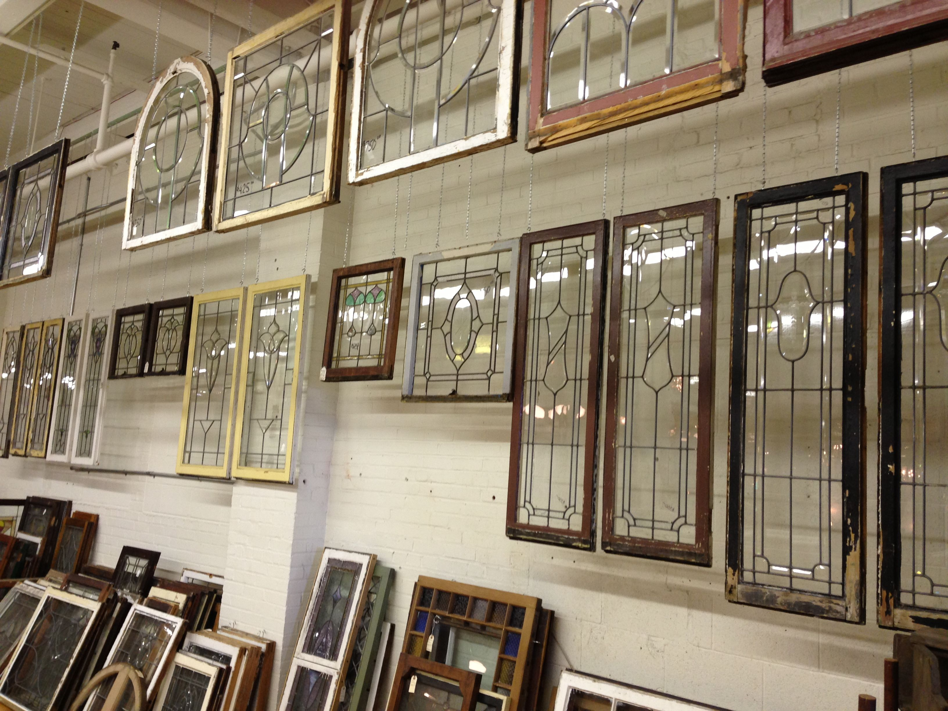 A small portion of Old Portland\'s salvage antique window collection ...