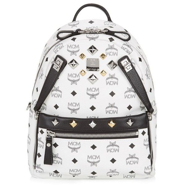 MCM Small Dual Stark Backpack ($865) ❤ liked on Polyvore featuring bags, backpacks, mcm backpack, padded backpack, padded bag, multi pocket bag and rucksack bag