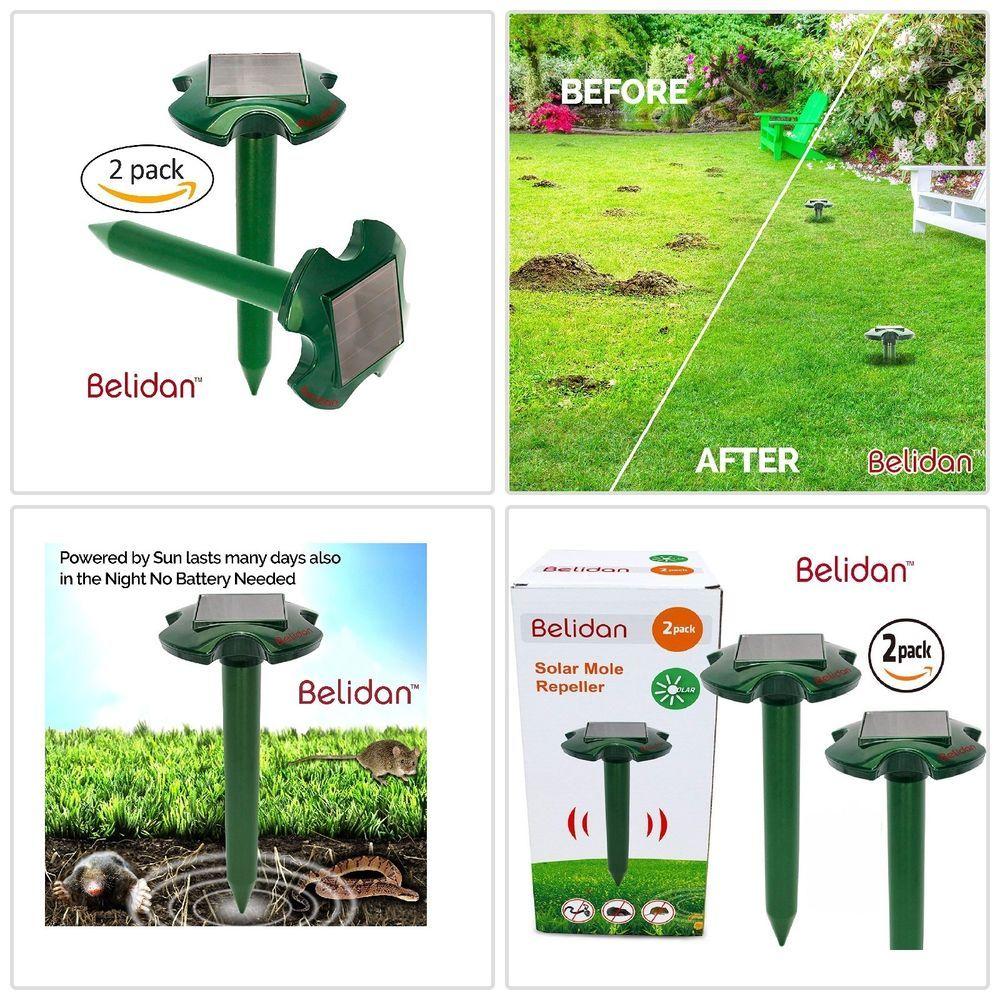 Mole Repeller Solar 2pack Ultrasonic Gopher Repellent Snakes Gophers Garden Safe Rodent Repellent Repeller Solar