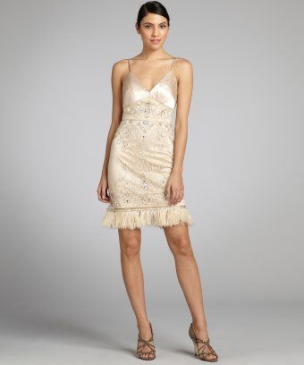 Sue Wong : antique champagne beaded and jeweled ostrich feather trim ...