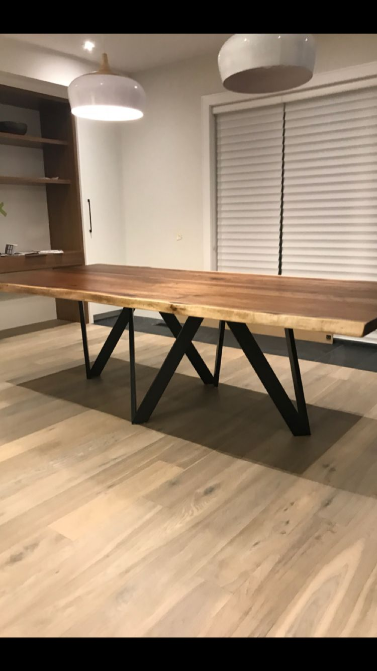 Live Edge Walnut Dining Table With Square Hairpin Legs