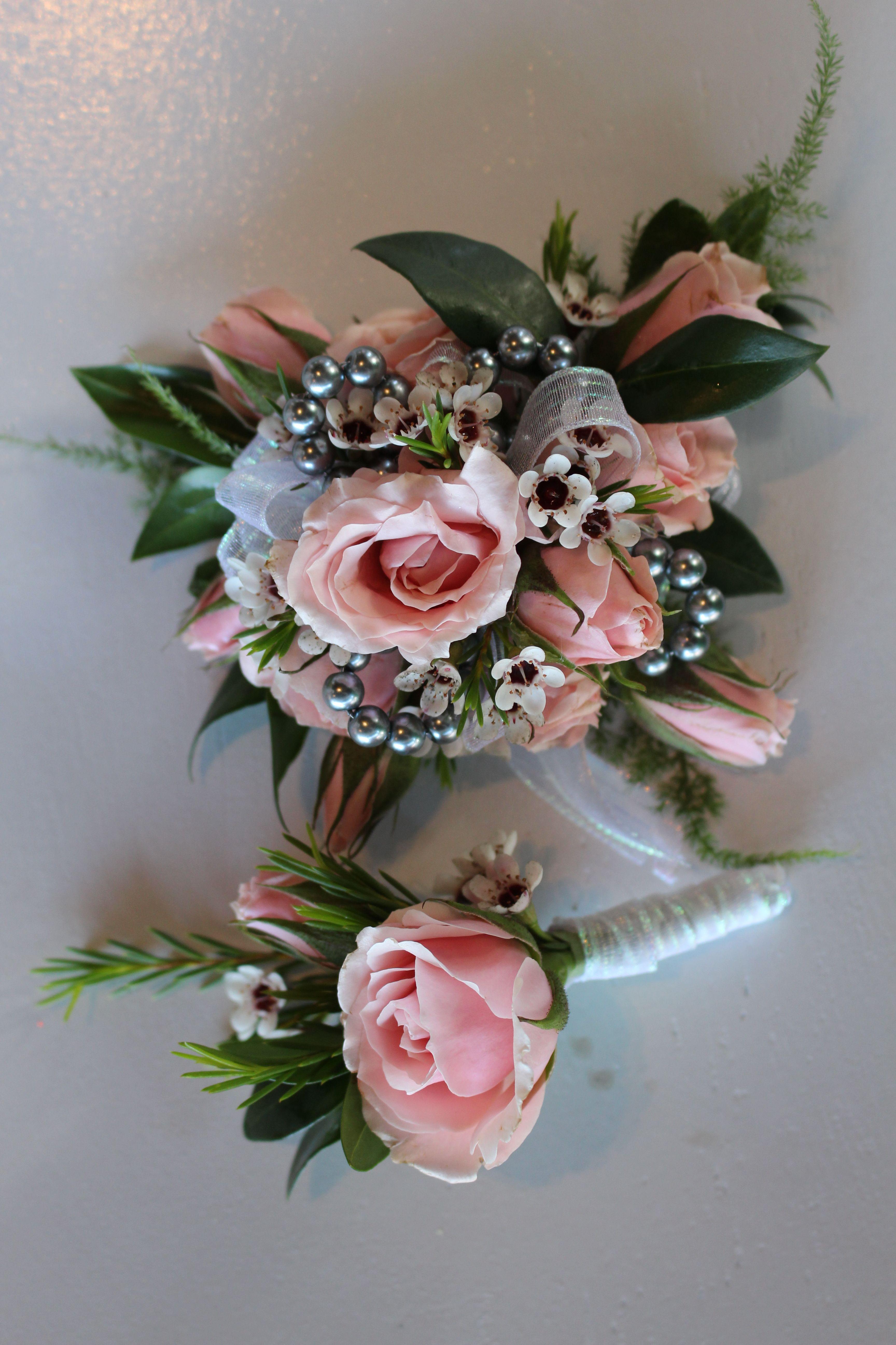 Bouquet Sposa Con Zagare.Pink And Silver Prom Corsage Nozze Matrimonio