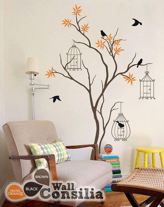 Baby Nursery Tree Wall Decal Tree Wall Sticker Mural Birdcage Tree ...