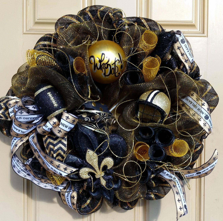 Gold and Black NOLA Saints Inspired Wreath, New Orleans Saints ...