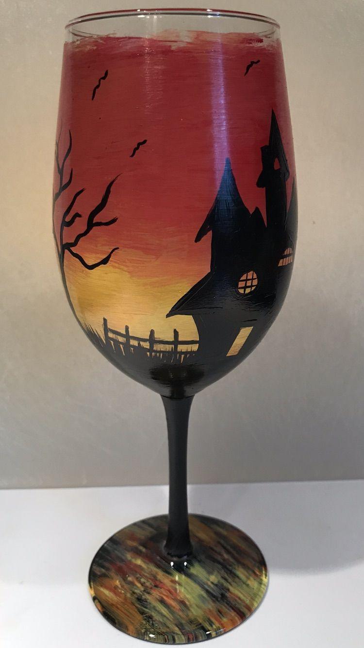 Halloween Wine Glass Hand Painting Art Halloween Wine Glass Wine Glass