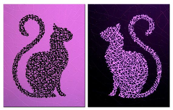 Yin Yang Cats  Pink and Black  Original Painting by MatriXArtbyDV, $79.00