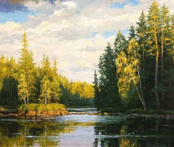 Realistic Landscape Paintings By Dmitry Levin Landscape Paintings Lake Art Painting