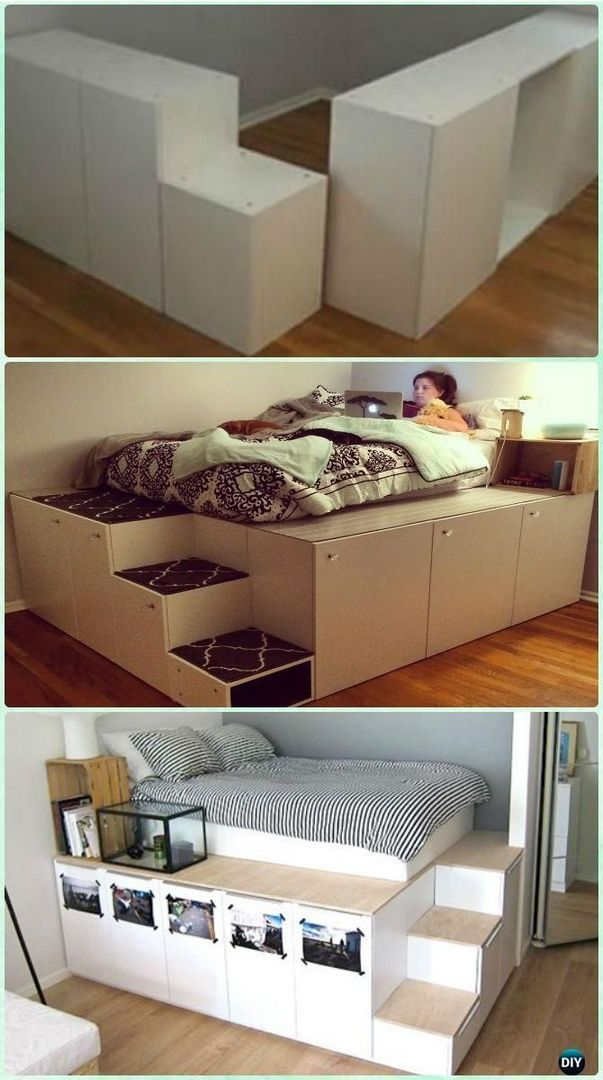 Underbed Storage Ideas For Small Spaces 33 Bed Frame Design Diy Space Saving Ikea Diy