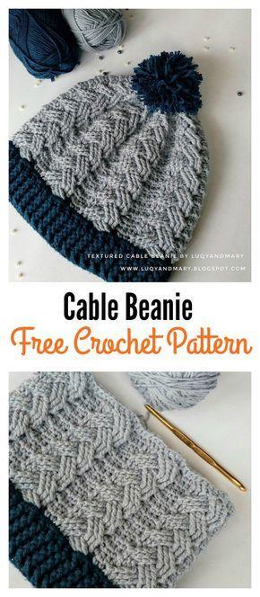 Cable Beanie Hat Free Crochet Pattern | Mütze, Mütze stricken und Häkeln
