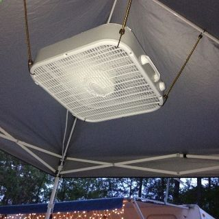 Cheap box fan in top of tent nice travelcamping pinterest bungee cord held box fan made ceiling fan bonus keep bugs away mozeypictures Image collections