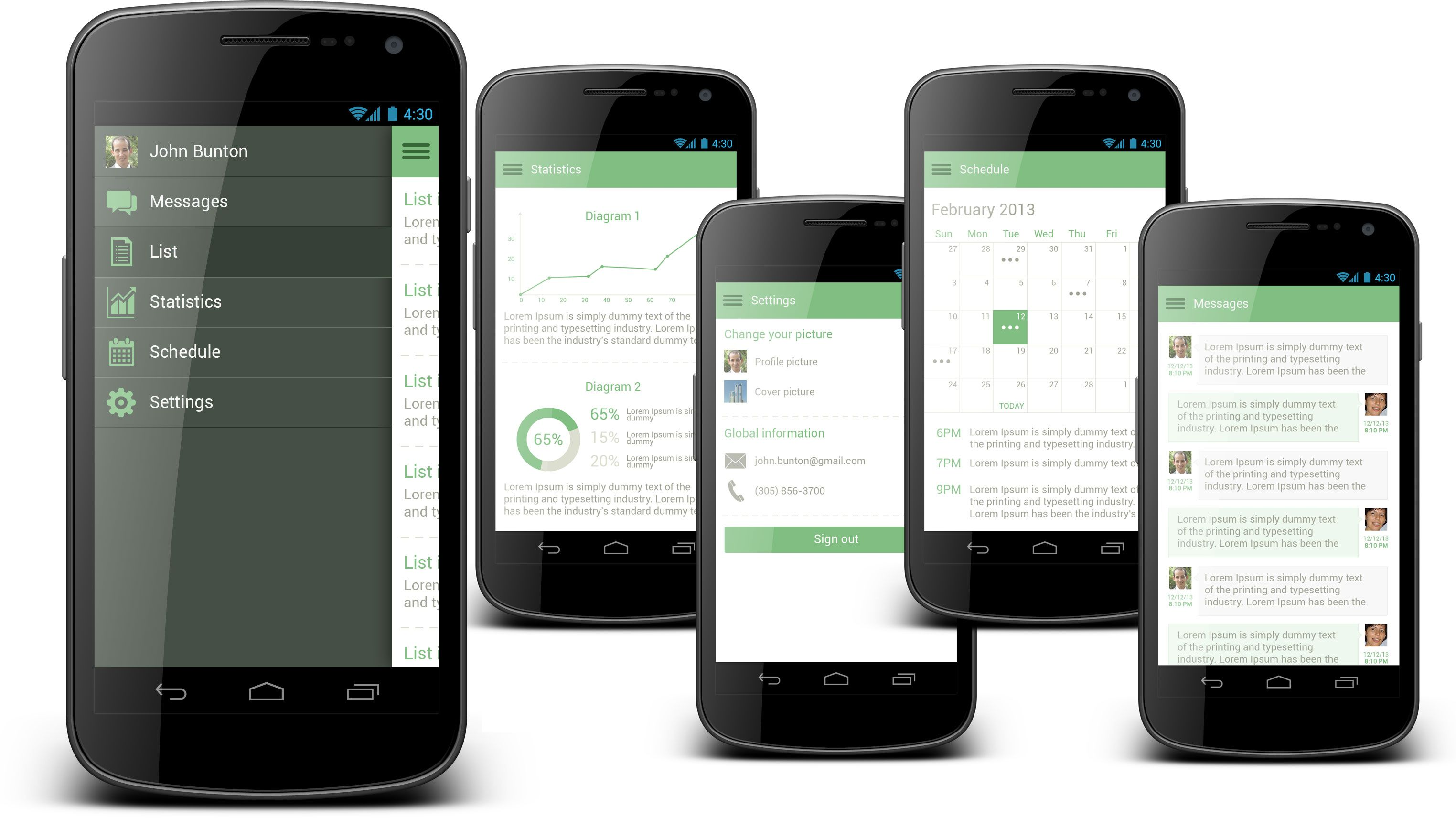 Sliding Android Menu This Template Include 5 Screens Like