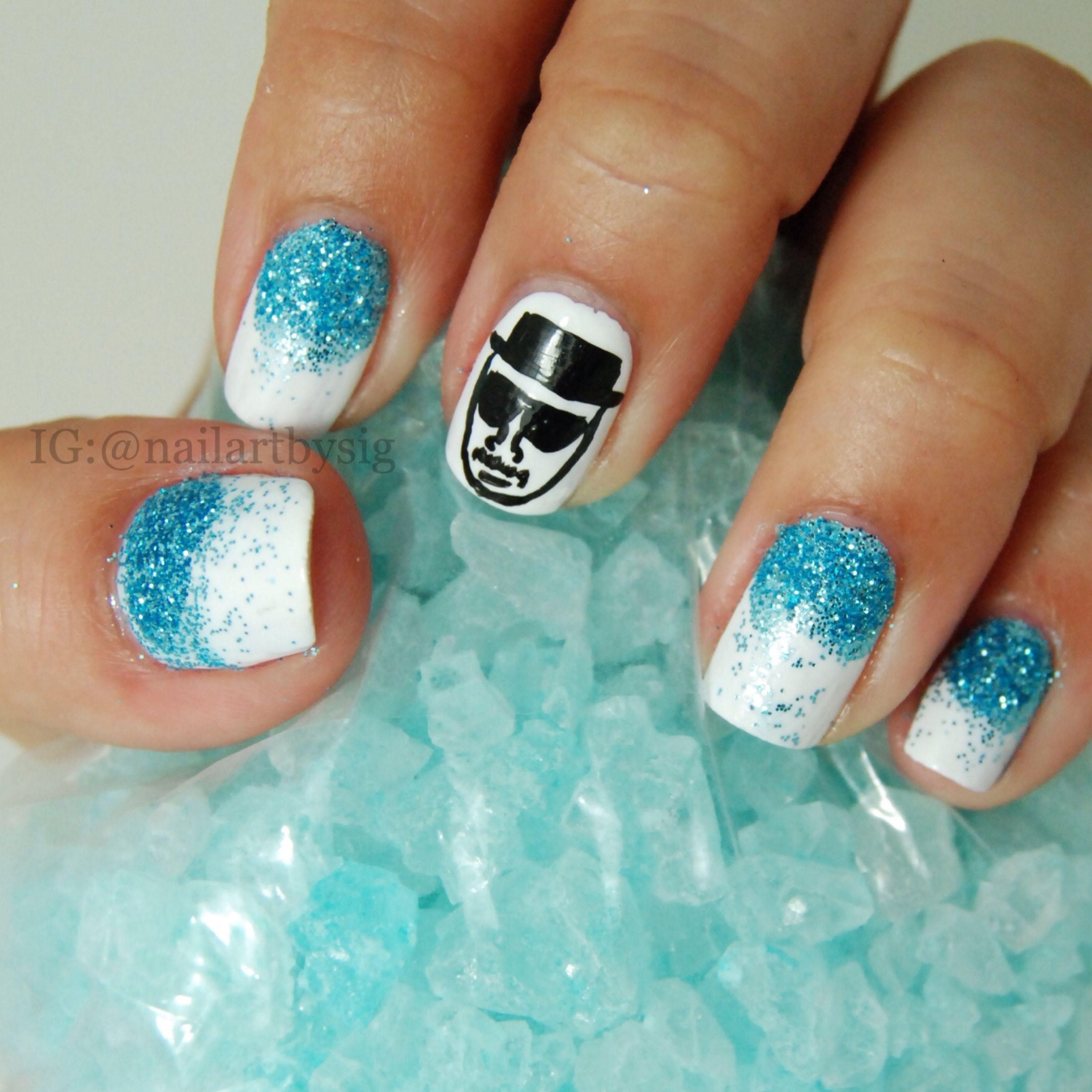All hail the king. Heisenberg fan art. Breaking Bad nails. Nail art ...