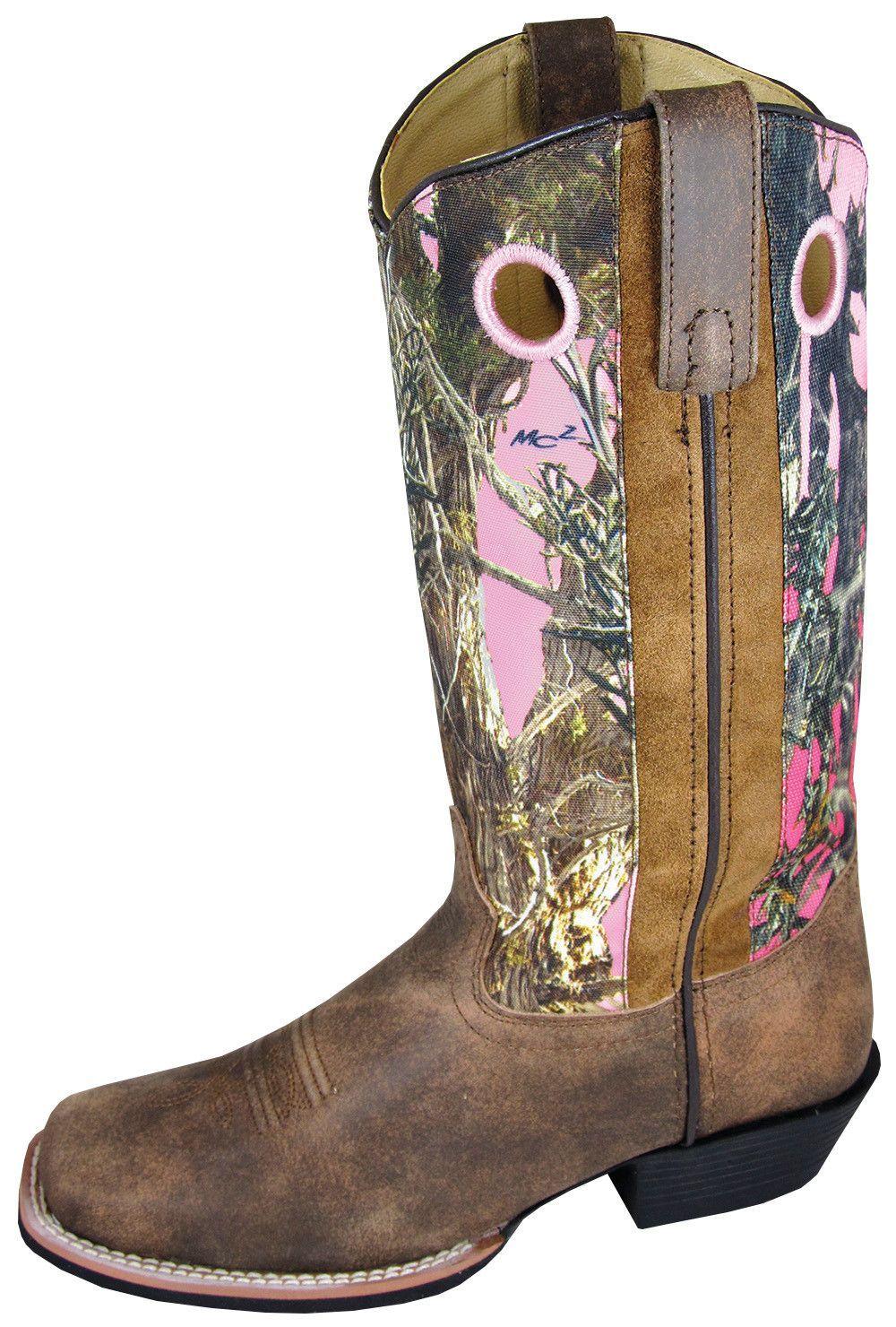 84708979a4e Smoky Mountain Boots Womens Tupelo Brown/Pink Distress Leather Camo ...