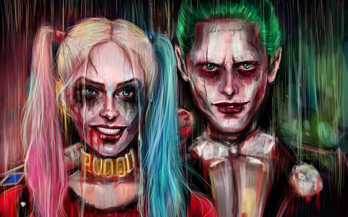 Lataa kuva 4k, Jokeri, Harley Quinn, art, fiktiivinen supervillain, DC Comics