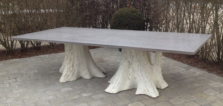 Vintage Concrete Top Dining Table with a Pair of Large Organic Whitewashed Root Tree Bases Each Base and Top Are Unique with Custom Sizes and Bases Available