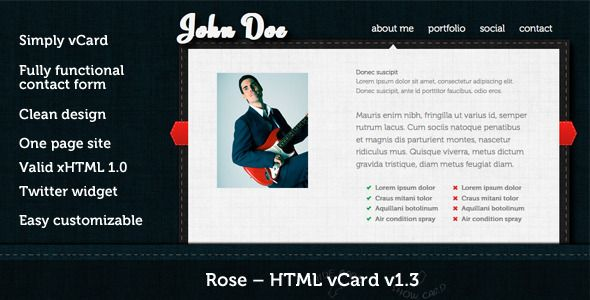 Rose - HTML vCard - ThemeForest Item for Sale