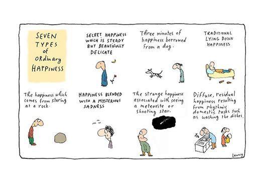 """Seven types of ordinary happiness"" by Australian cartoonist Michael Leunig"