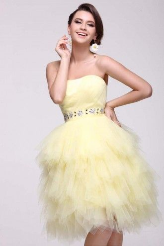 Short Tulle Strapless Daffodil Homecoming Dress