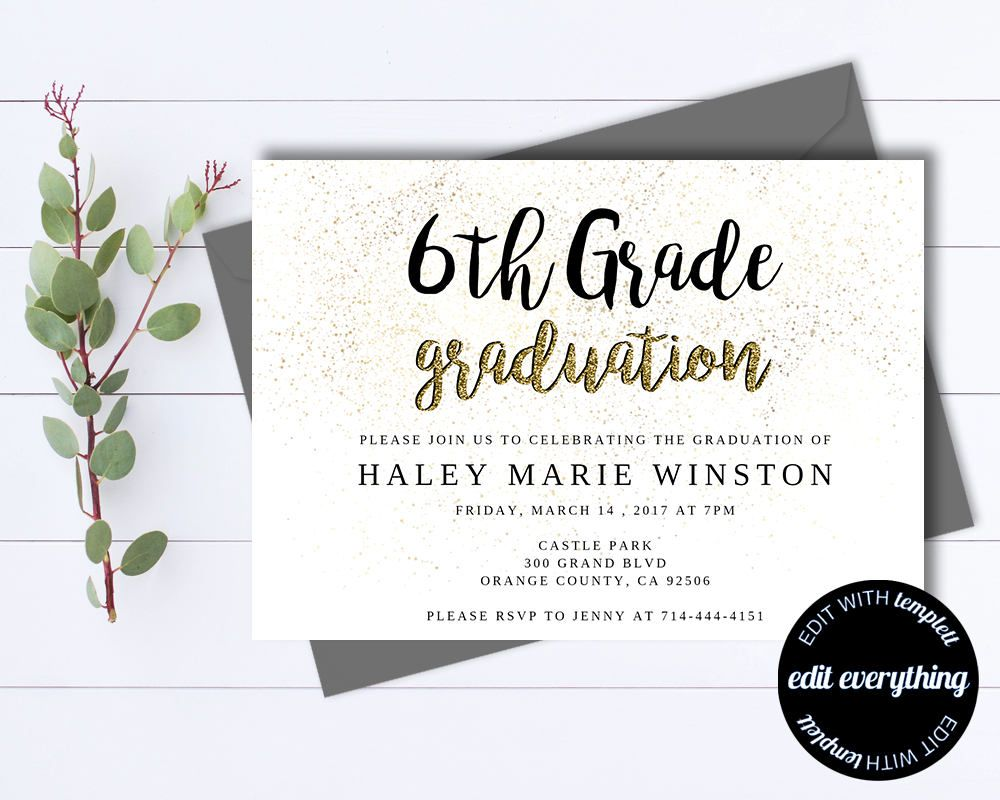 Gold Graduation Party Invitation Template  Senior Graduation