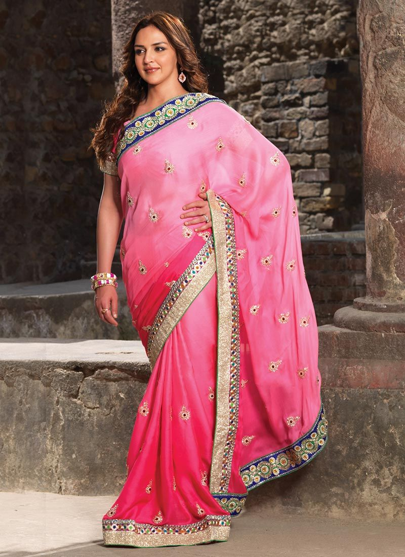 Trendy Esha Deol Style Pink Embroidered Saree | India | Pinterest