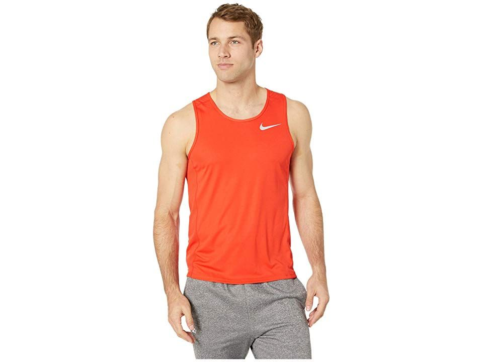 34ac5be5c85271 Nike Dry Miler Running Tank (Habanero Red Habanero Red) Men s Sleeveless.  Settle