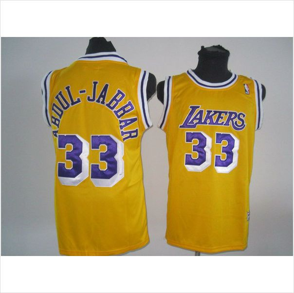 Men s LA Lakers Kareem Abdul-Jabbar 33 Yellow Authentic Throwback NBA  Jersey 820103337403 on eBid United States 2356cd475