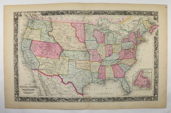 1860 United States Map 1860 Mitchell Map of United States  Original     1860 United States Map 1860 Mitchell Map of United States  Original Antique  US Map