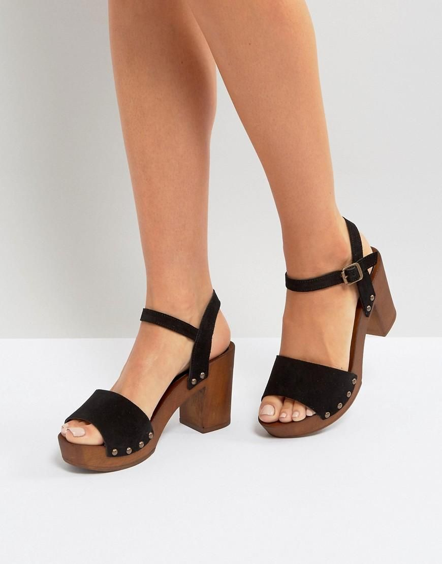 #ASOS - #New Look New Look Suede 2 Part Block Heeled Sandal - Black
