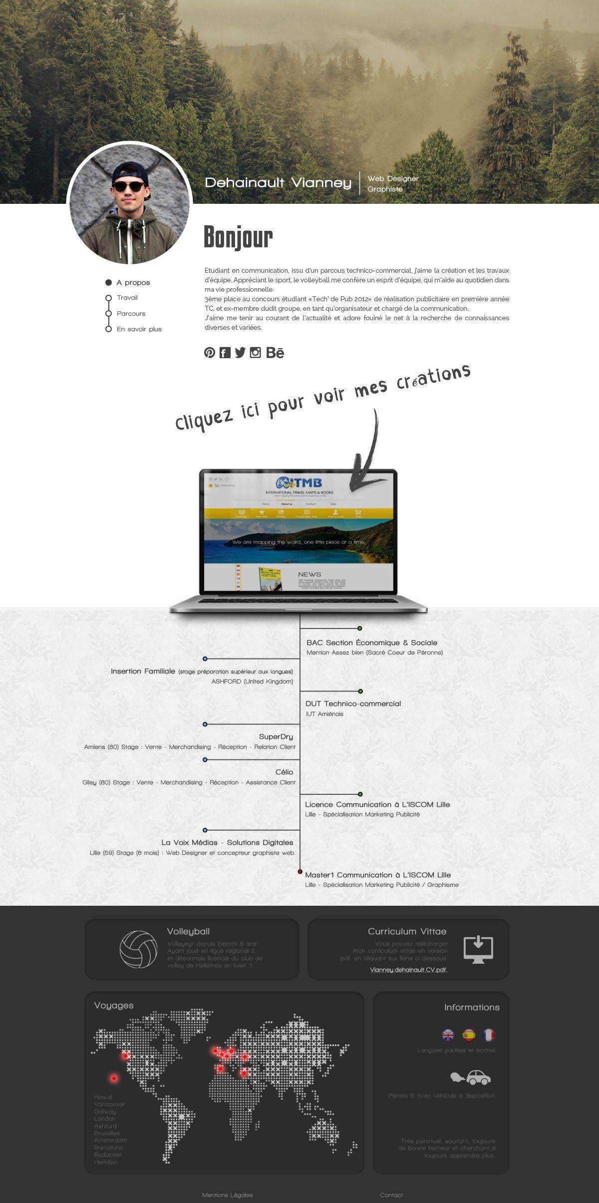 Personnal Website Home Page Vianney Dehainault 2014 Fibre Optique Portefolio