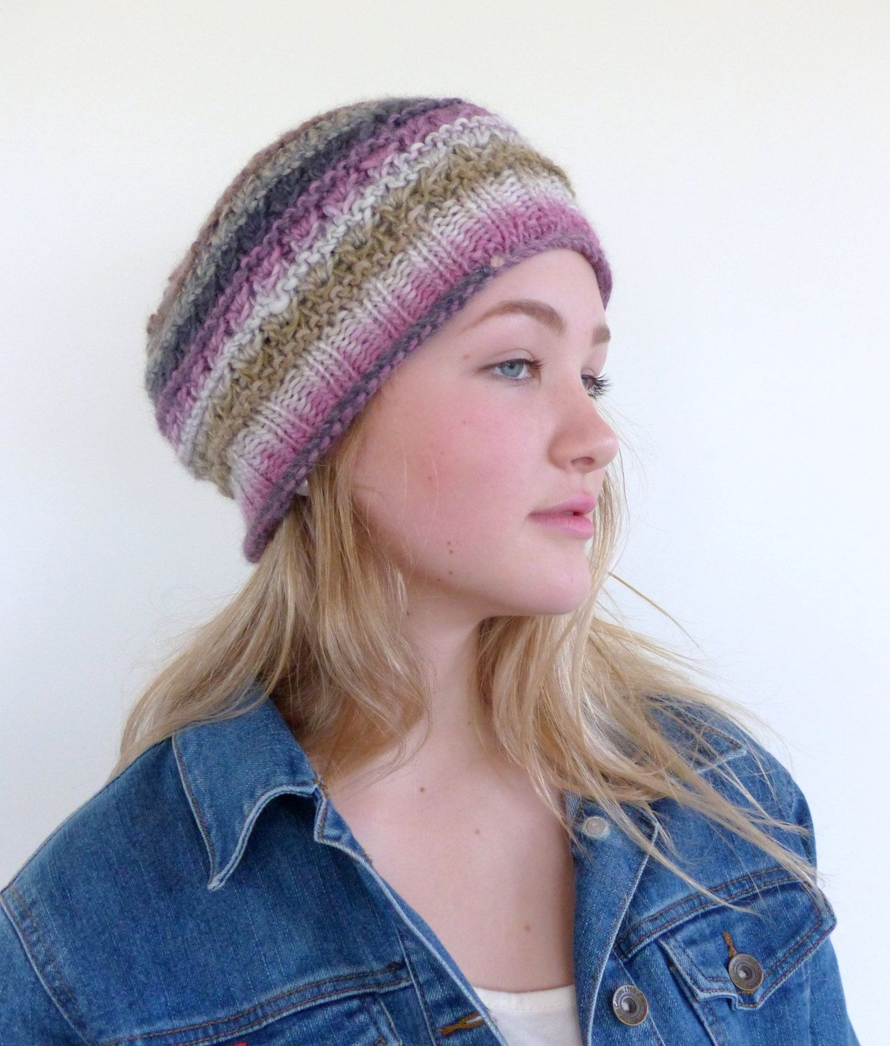 450271add3f Pink and black Hand Knit Hat pink Beanie Womens winter hat ...