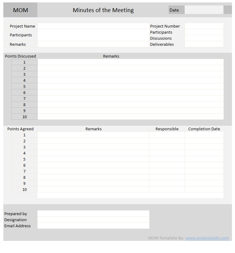 Minutes Of Meeting Free Excel Template To Download Meeting Notes Template Notes Template Mom Template