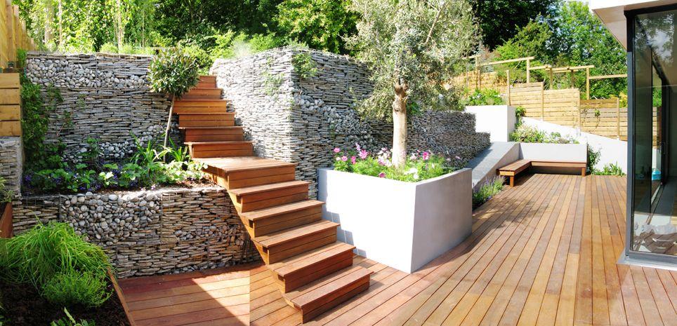 incredible gabion wall..The Landscape Architect Garden