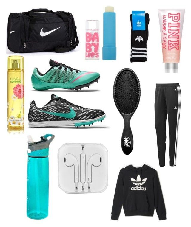 What S In My Track Bag By Cool Ostrich Heart Liked On Polyvore Featuring Nike Contigo Victoria Secret Pink The Wet Brush Adidas Maybelline