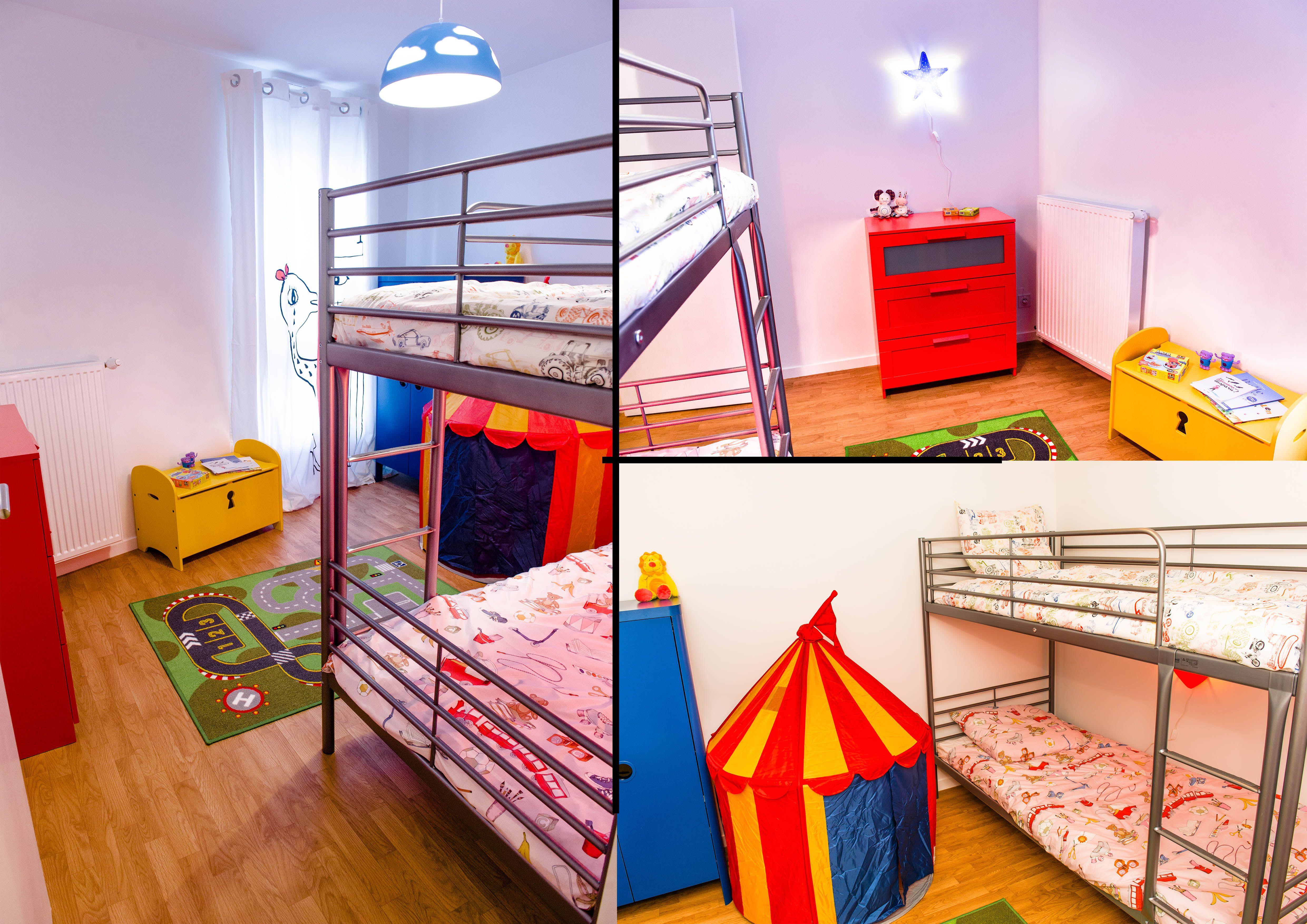décoration d une chambre pour deux enfants avec espace jeu toile
