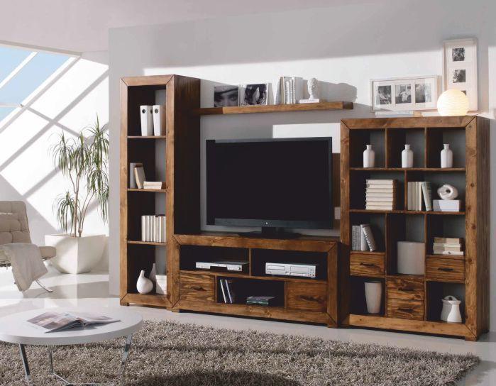 Librerias rusticas y mejicanas composicion libreria de for Muebles salon modulares