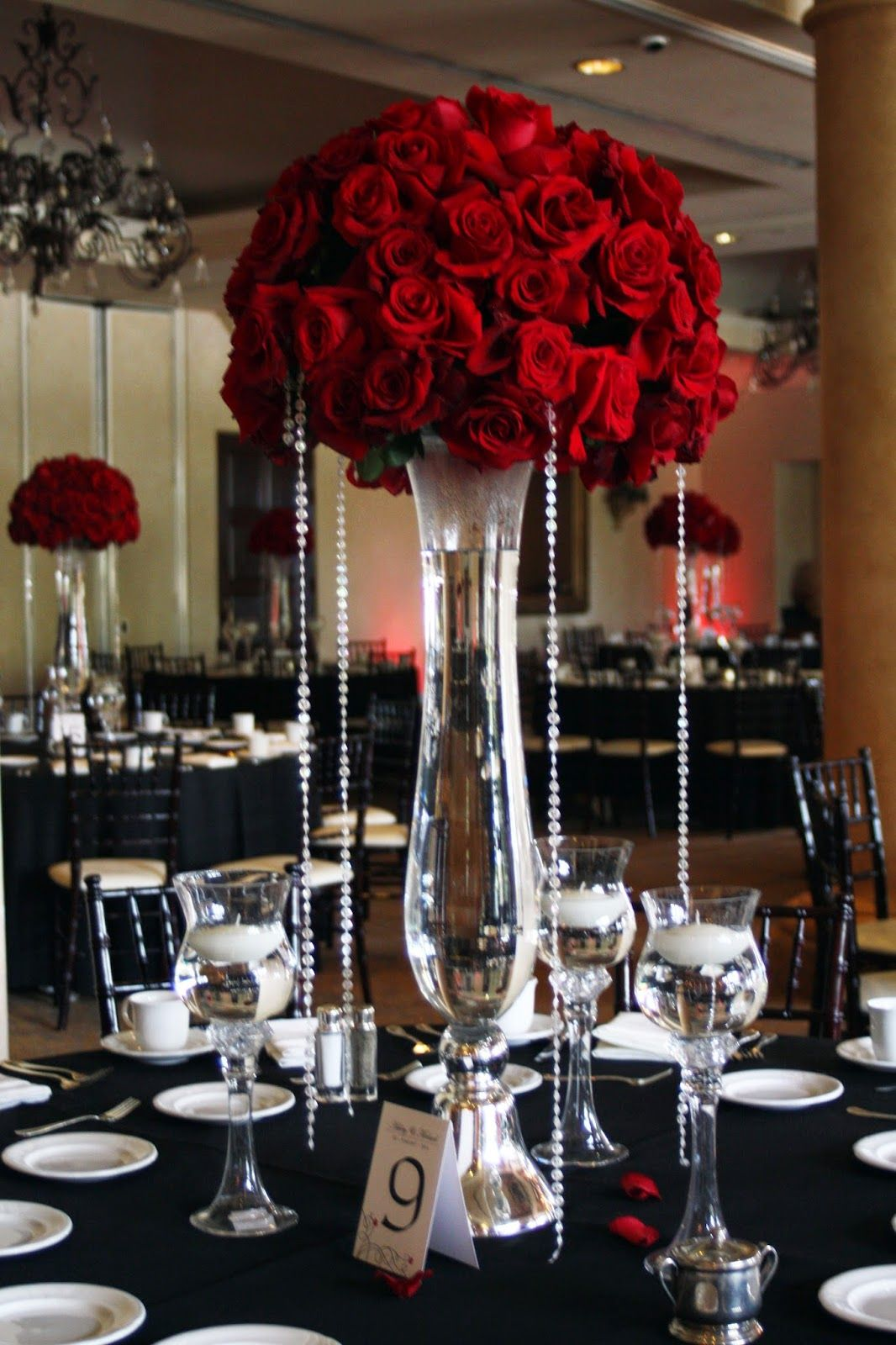 Tall red rose wedding centerpiece only with dripping beads or dripping  diamond strands