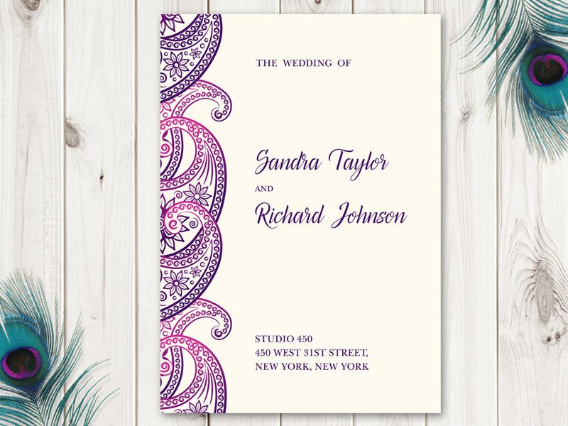 Indian Wedding Program Paisley Purple Violet Etsy Printable Wedding Programs Wedding Programs Wedding Programs Template