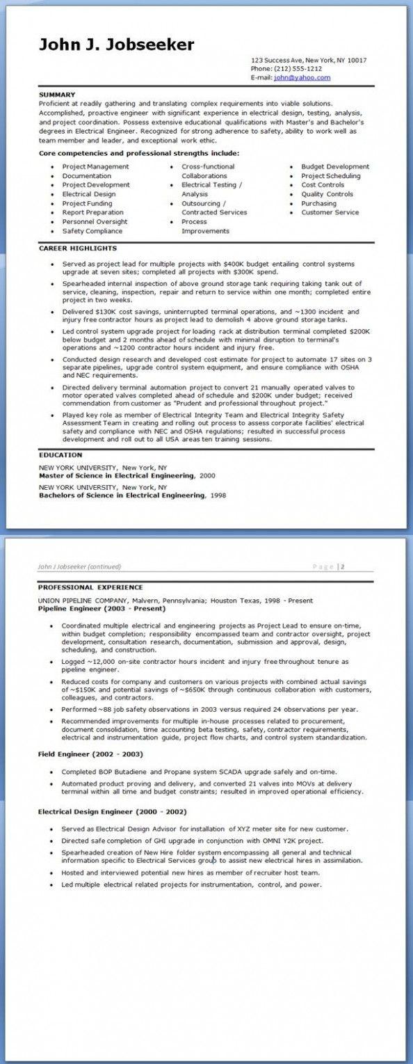10 engineer resume doc  engineering resume electrical