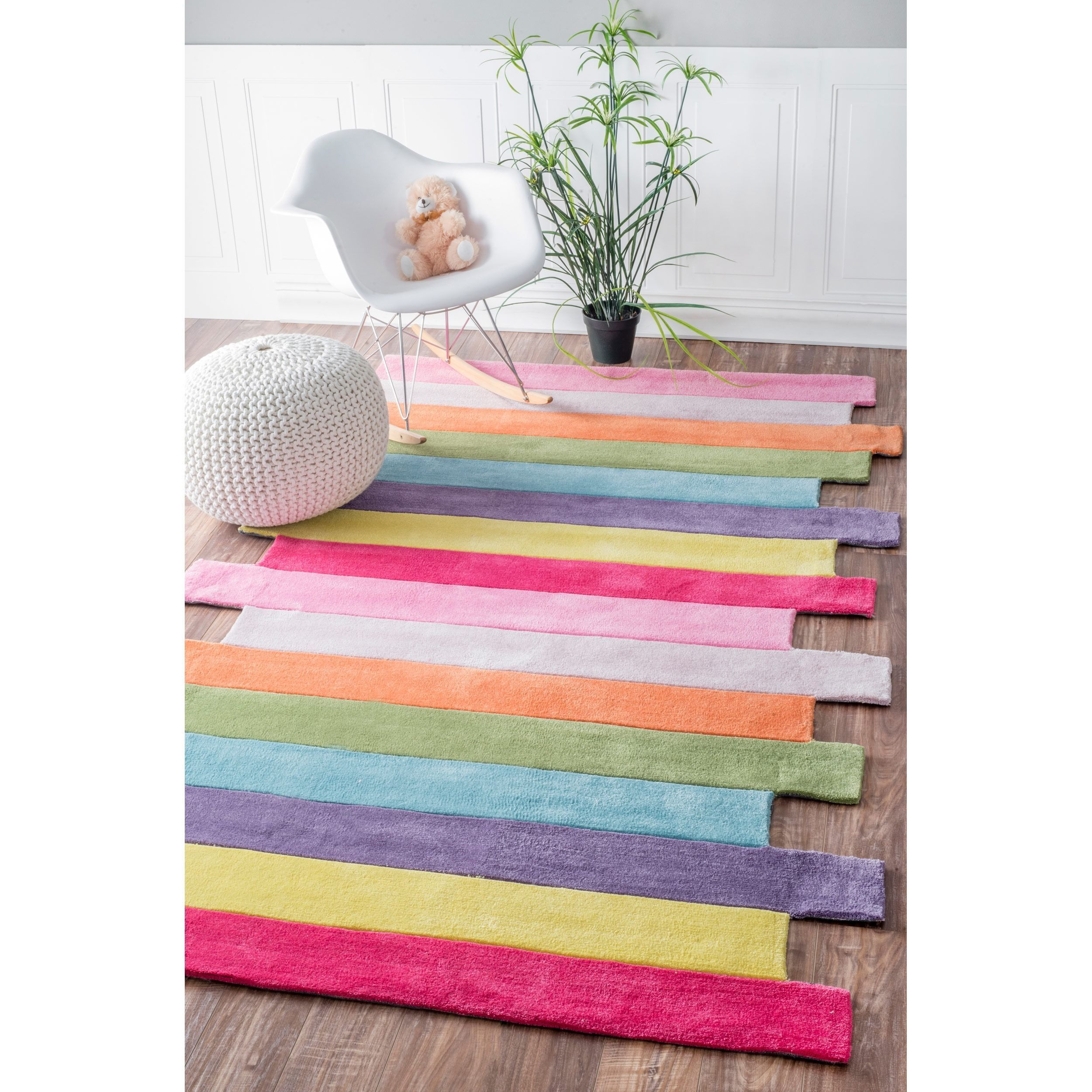 Children's Floor Rugs Nuloom Handmade Kids Stripes Multi Rug 5 X 8 Pink Size 5