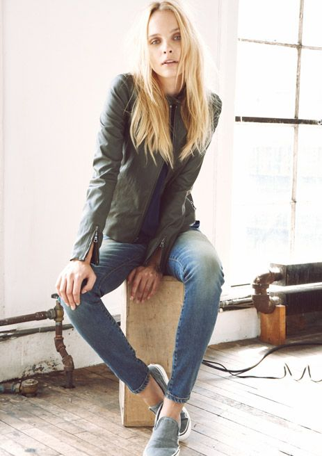 Look 12     Slim cafe racer (Army), Strappy tank top (Navy), Loose Skinny (Dirty Faded)