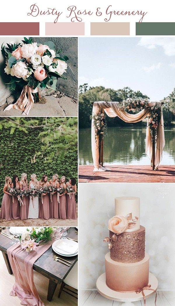 dusty rose and greenery wedding color ideas