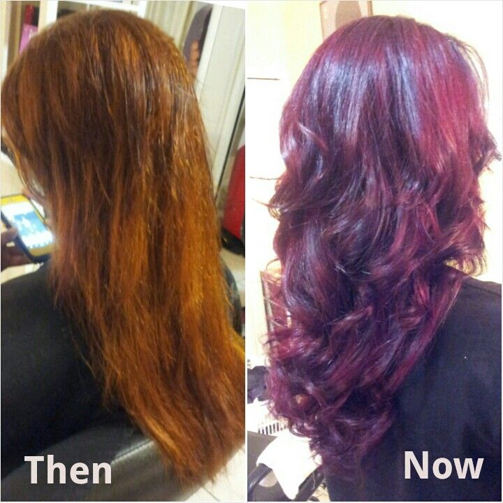 Haircolor From Black To Red Like Cherries And Berries With