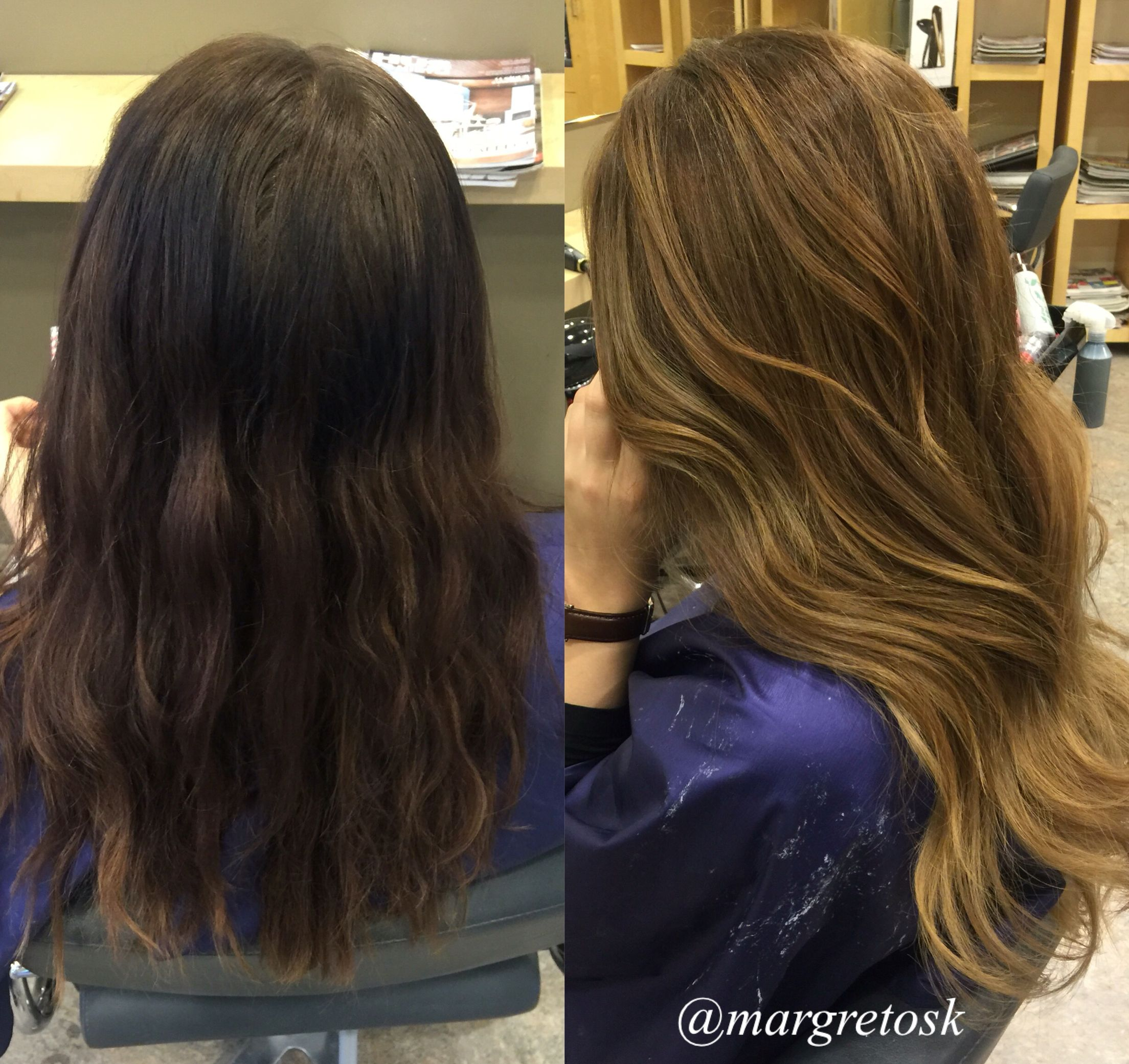 Before and after coloring. From dark brown hair to a lighter ...