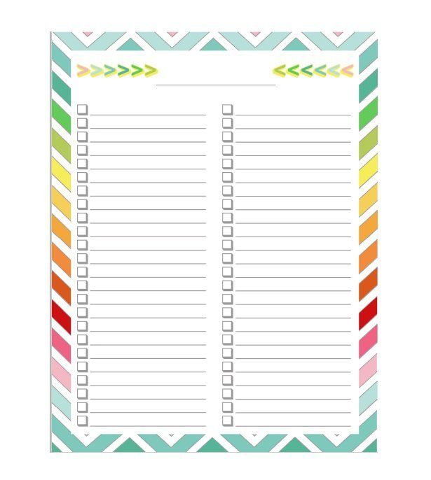 printable list amp checklist templates excel word pinterest whole