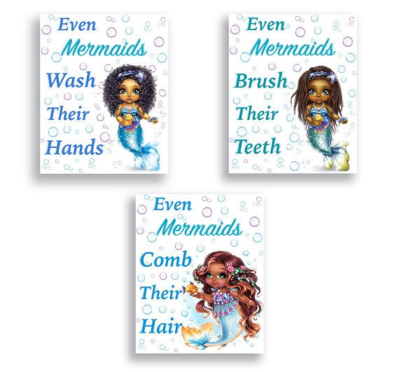 Mermaid Bathroom Decor Girl Bathroom Sign Wash Your Hands Brush