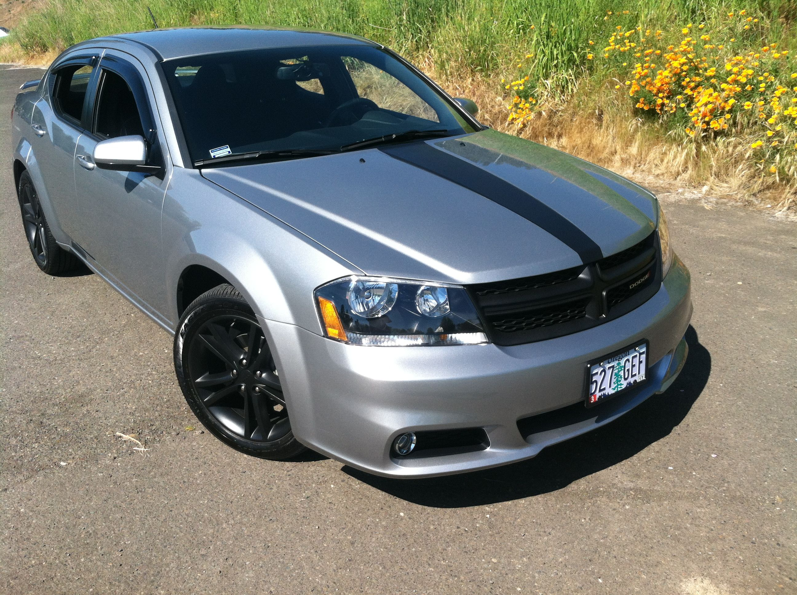 2013 dodge avenger sxt stripe badges wheels and grill were all done by myself