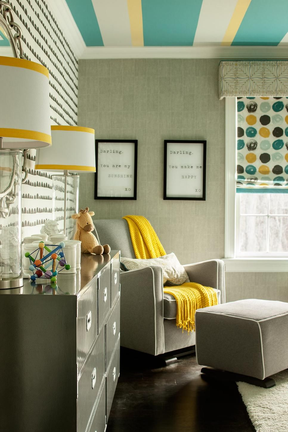 Pops Of Mustard Yellow In Playful Midcentury Modern Nursery