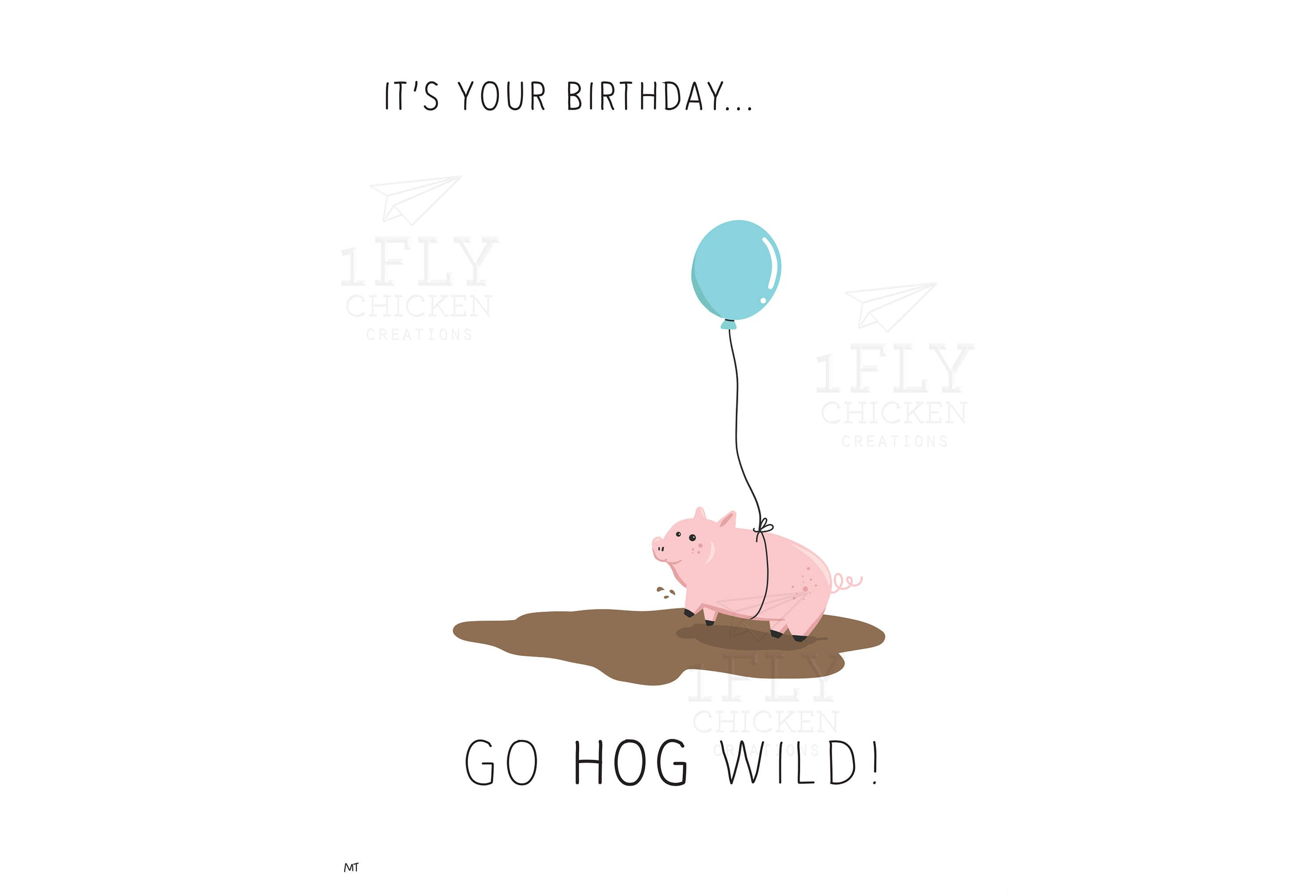 Cute pig birthday card printable pig in the mud blue balloon cute pig birthday card printable pig in the mud blue balloon instant download bookmarktalkfo Image collections