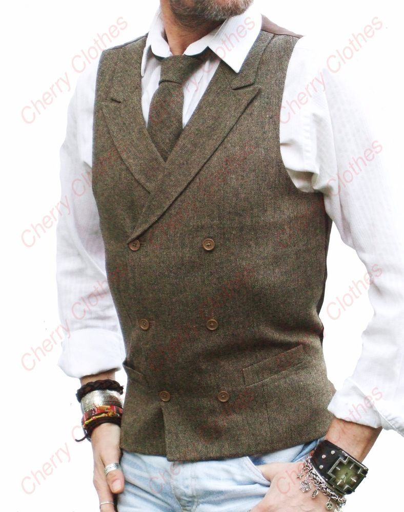 Brown Wool Waistcoat with collar Wedding Vest All Sizes Slim Fit Large Smart Brown Vest Tweed Donegal hyIwa
