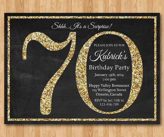 70th Birthday Invitation Gold Glitter Party Invite Adult Surprise Elegant Printable Digital DIY